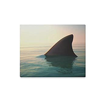 InterestPrint Big Shark Fin above Still Ocean Water Canvas Wall Art Print Seascape Painting Hanging Artwork