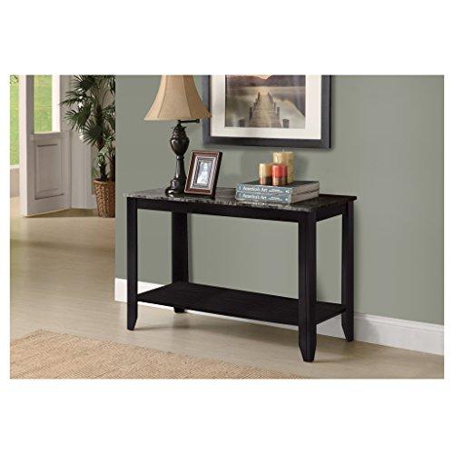 Monarch Specialties Marble Look Top Sofa Console Table, Black/Grey By Monarch  Specialties