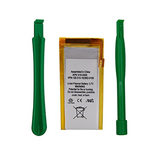 Replacement Battery for A pple iPod Nano 5th Gen, DOCA 3.7 V/0.91 WHR Li-Polymer Rechargeable Battery with Opening Pry Tool Kits, Compatible with Model No.616-0467 (Nano 5th Gen)