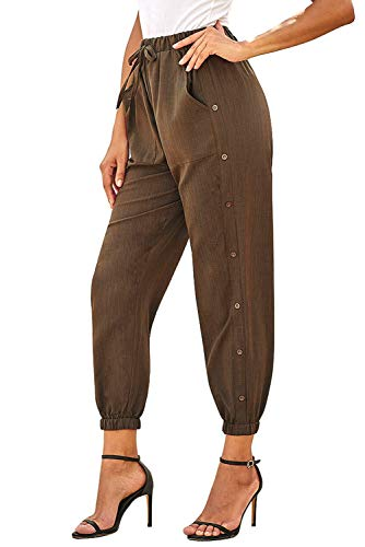 NEWFANGLE Women's Linen Casual Pants Drawstring Elastic Waist with Pockets Solid Comfy Loose Fit Trousers,Brown,S