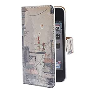 DUR Lovers on the Balcony Pattern PU Full Body Case with Card Slot and PC Back Cover insight for iPhone 4/4S