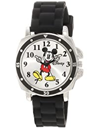 Disney Kids' MK1080 Mickey Mouse Black Rubber Strap Watch