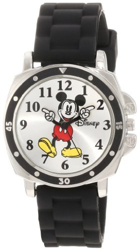 (Disney Kids' MK1080 Mickey Mouse Watch with Black Rubber Strap )