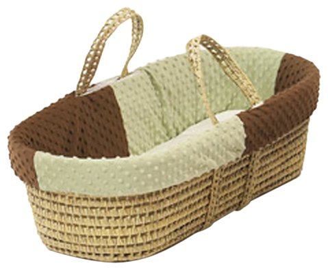 Baby Doll Bedding Minky Dots Moses Basket, Chocolate/Sage