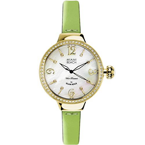 Glam Rock Miami Beach Art Deco collection MBD27199A 36mm Stainless Steel Case Green Calfskin Mineral Women's Watch