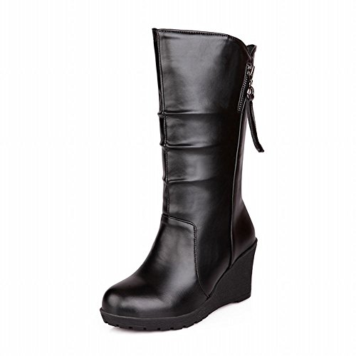 Show Shine Women's Casual Leather Mid-calf Zip Back Wedges Boots Black