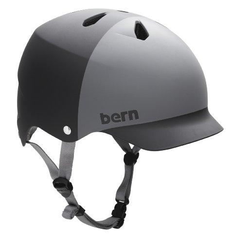 Audio Snowboard Hard Hat (BERN Watts EPS 2-Tone Summer Matte Helmet (Black/Grey, X-Large))