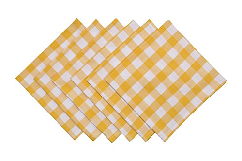 Yourtablecloth Buffalo Plaid 100% Cotton Cloth Checkered Dinner Table Napkins - Vibrant Colors - Soft & Super Absorbent Napkins 20 x 20 Set of 6 Yellow and White ()