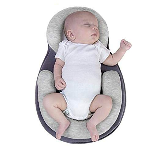 Baby Positioning Pillow Baby Stereotype Pad Prevention and Correction Flat Head Cotton Head Shaping Mattress Cushion Portable Baby Crib Infant Anti-Rollover Nursery for 0-12 Month Baby (Gray)
