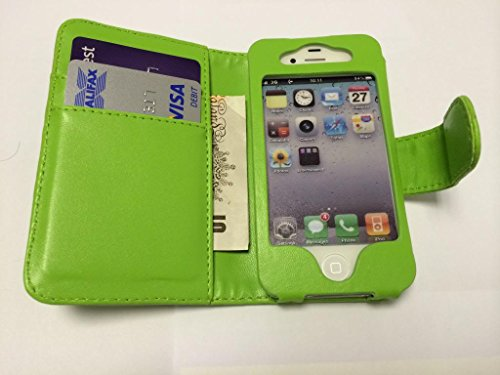Buona qualità Wallet per iPhone 4 4S verde con due fessure per carta PU Leather Case Cover per Apple iPhone 4 4S