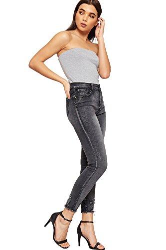 Afflig Nouveau 42 Jambe Ripped Jean Dames Toile Cheville 34 WearAll Maigre De Jeans Noir Femmes Poche tendue Eq0FnwWg
