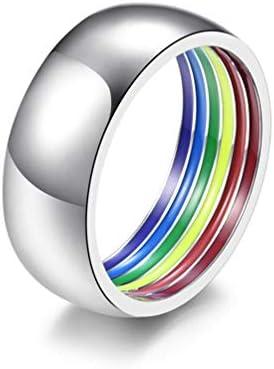 レズビアン&ゲイの結婚式婚約バンドのための8ミリメートルのステンレス鋼レインボープライドリング,8
