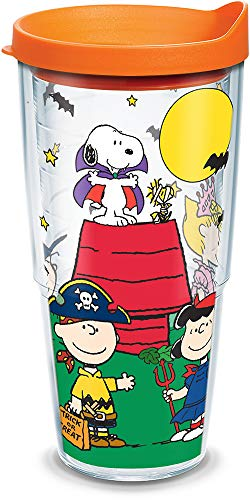Tervis 1163199 Peanuts - Halloween Trick-or-Treating Insulated Tumbler with Wrap and Orange Lid, 24oz, Clear -