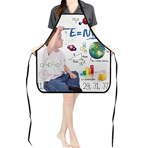 Jiahong Pan Adult Apron Waitresses Apron A Young boy Child is Writing Out Math and Science Equations and Formulas Cooking Kitchen Aprons for Women MenK26.6xG27.6xB10.2