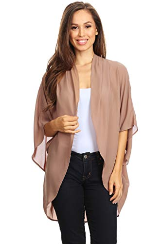 Casual Solid Color Loose Fit Open Front Cardigan/Made in USA Tan S