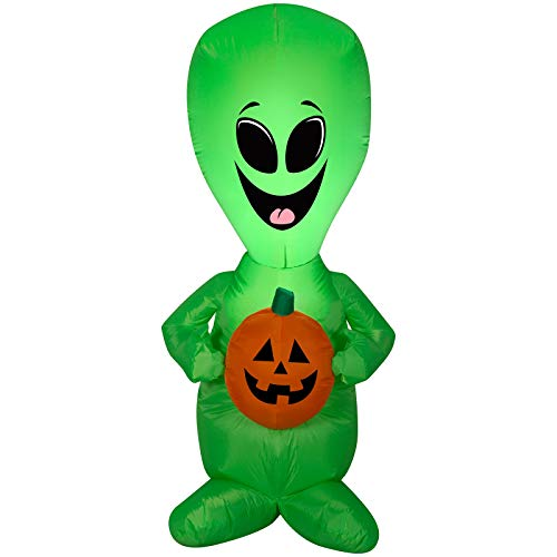 Halloween Inflatable Happy Extra Terrestrial Alien Holding Pumpkin Airblown Decoration -
