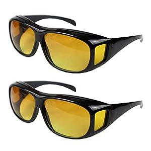 2pcs HD Night Vision Wraparounds Wrap Around Windproof Sunglasses