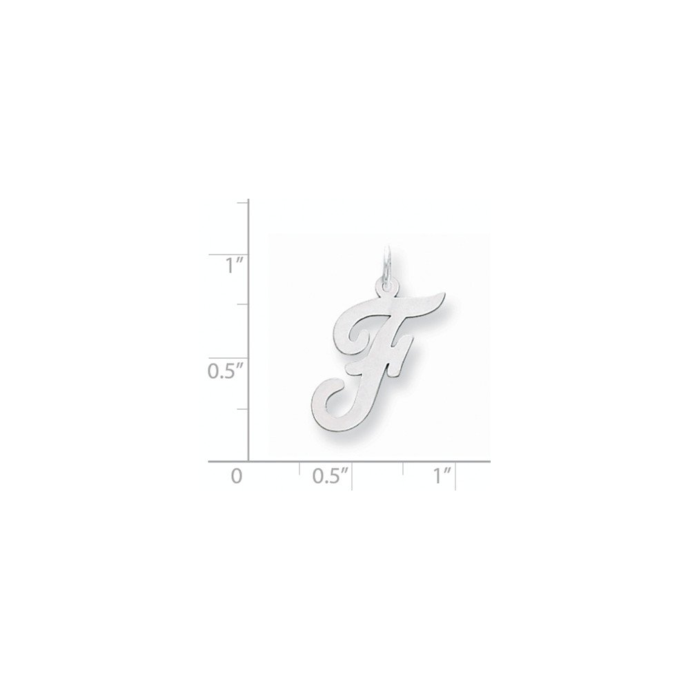 14K White Gold Large Script Initial F Charm