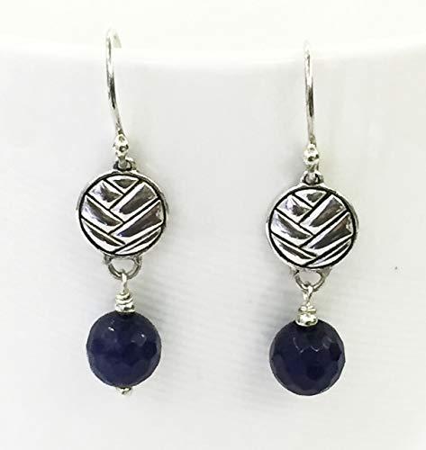 handmade dangle drop 925 sterling silver earrings with sapphire bead, dangle drop sterling silver earrings with rough sapphire