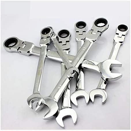 JYSLI Interiors Adjustable Dual-use Open End Wrenches 6-30mm metric flexible head Key ratcheting combination wrench spanner set car repair tools designs (Size : 32mm)