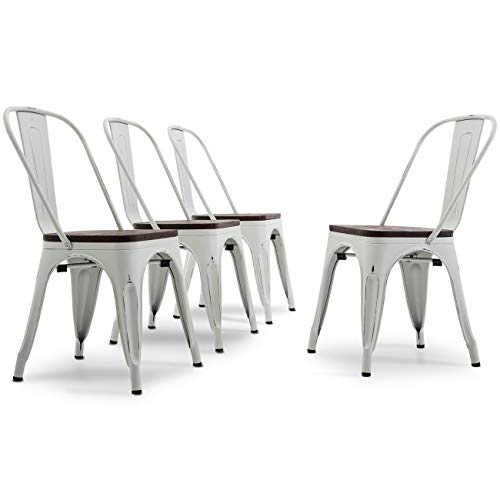 Belleze Set of 4 Modern Wood Seat w/High Backrest Stool Metal Industrial Stackable Bistro Dining Chairs, Antique ()