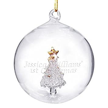 Amazon.com: Personalised Glass Christmas Tree Bauble by C.P.M.: Beauty