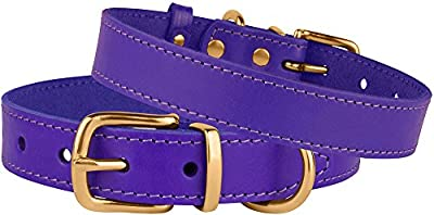 BronzeDog Genuine Leather Dog Collar, Adjustable Durable Collars for Dogs with Brass Buckle Small Medium Large Puppy Black Brown Red Pink Purple Green by