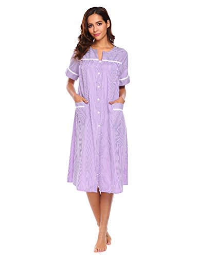 Womens Short Sleeve Button Front (Ekouaer Womens Button Front Pajamas Dress Short Sleeve Nightshirts Soft Nightgown (Purple,XL))