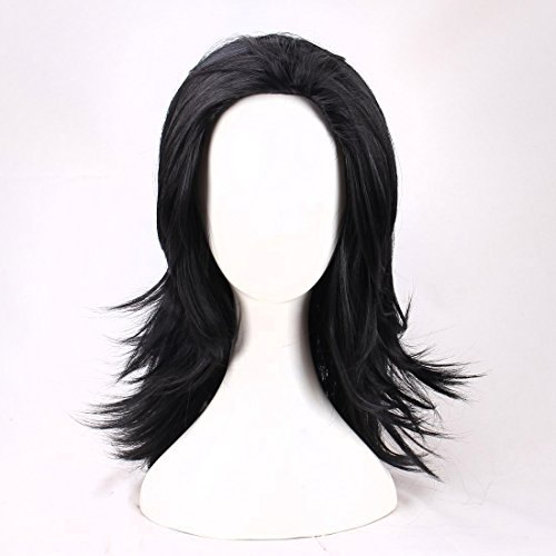 Man's Long Black Cosplay Wig Halloween Wig for Movie