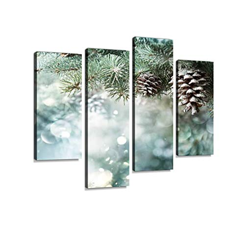 Fir Branch with Pine Cone and Snow Flakes Canvas Wall Art Hanging Paintings Modern Artwork Abstract Picture Prints Home Decoration Gift Unique Designed Framed 4 Panel