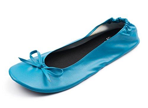 Orteils Soyeux Womens Pliable Portable Voyage Ballet Plat Retrousser Pantoufle Chaussures Ciel Bleu