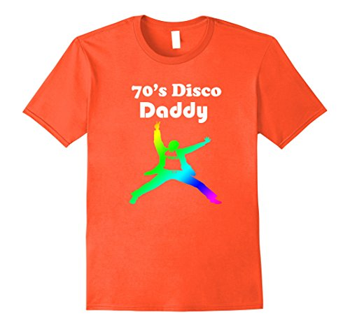 [Men's 70's Disco Daddy Mens Theme Party Disco shirt for Dad Small Orange] (Disco Theme Costumes)