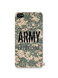 Proud Army Girlfriend United States USA Camo Apple Iphone 4 Quality TPU Soft Rubber Case for Iphone 4/4s - AT&T Sprint Verizon - White Case