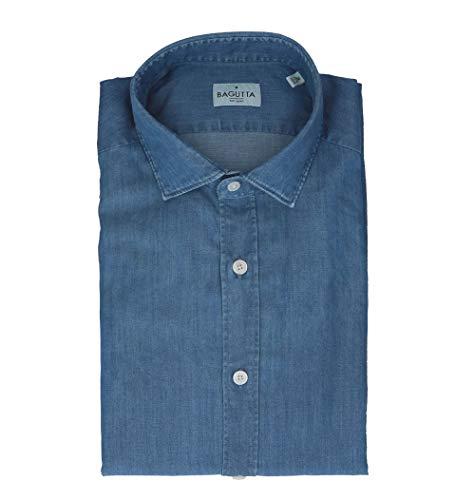 Bagutta Men's Berlinoeblj06196050 Blue Cotton Shirt