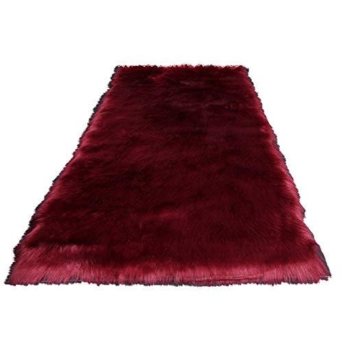 (Rectangle Burgundy Faux Sheepskin Area Rug Chair Cover Seat Pad Plain Shaggy Area Rugs For Bedroom Sofa Floor(2' x 3' Sofa Mat))