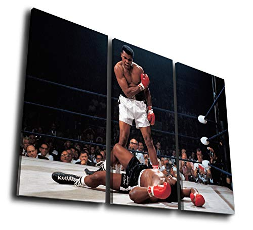 Mixi Art 3 Pcs Muhammad Ali vs Sonny Liston 19651 Printed Canvas Wall Art Picture Home Décor, Contemporary Artwork, Split Canvases (with Framed, Size 3: 16x32inx3pcs.)