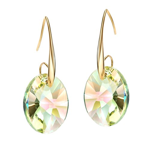 Plated Earring Crystal Yellow Gold (Neoglory Jewelry 14k Gold Plated Yellow Crystal Drop Pierced Earrings)