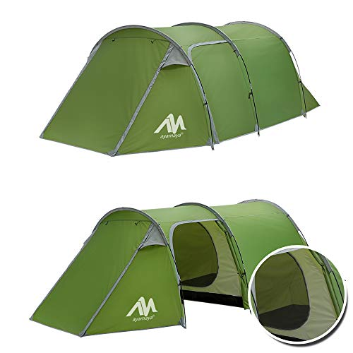AYAMAYA Camping Tents 3-4 Person/Man/People with 2/Two Room [Bedroom + Living Room], Waterproof Double Layer [3 Doors] [4 Season] Easy Setup Large Family Tunnel Tent Shelter for Hiking Travelling