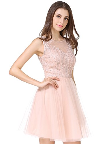 Women's Fashion Tulle Beaded Short Gowns Homecoming Prom Cocktail Party Mini Dress(M, Pink)