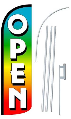 "UPC 758003197141, NEOPlex - ""OPEN"" 12-foot SUPER Swooper Feather Flag With Heavy-Duty 15-foot Pole and Ground Spike"