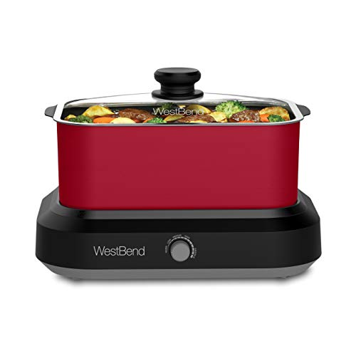 West Bend 84915R Versatility 5-Quart Slow Cooker with Insulated Tote and Transport Lid, Red (Discontinued by Manufacturer)