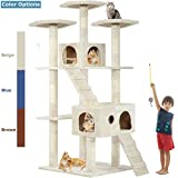 """Beige 72"""" Cat Tree Scratcher Play House Condo Furniture Bed Post Pet House"""