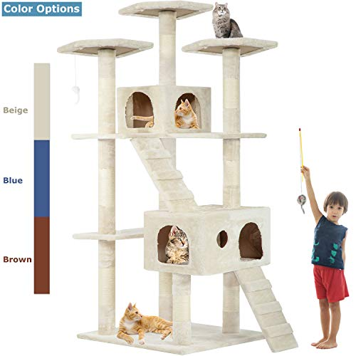 Beige 72' Cat Tree Scratcher Play House Condo Furniture Bed Post Pet House