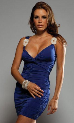Mini Forplay - Forplay Novak Sexy Mini Dress with Rhinestone Strap Detail (Navy Blue; Size M (6-9))