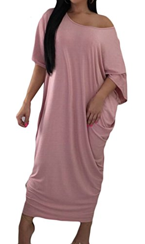 Women Dress Loose Fashion Long Short Pink Baggy Crewneck Solid Domple Sleeve dqzUSwnzx
