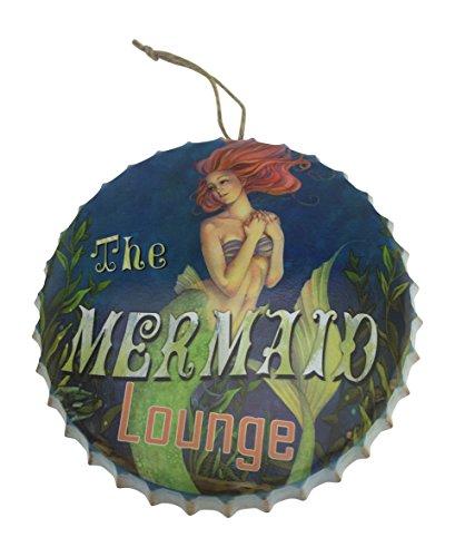 Mermaid Lounge Metal Bottle Cap Hanging Sign for Bar