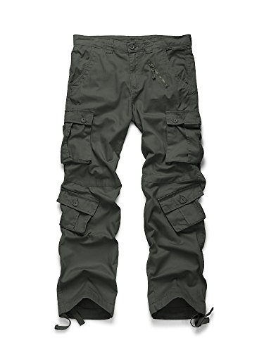 OCHENTA Men's Cotton Military Cargo Pants, 8 Pockets Casual Work Combat Trousers #3357 Grey Green 36