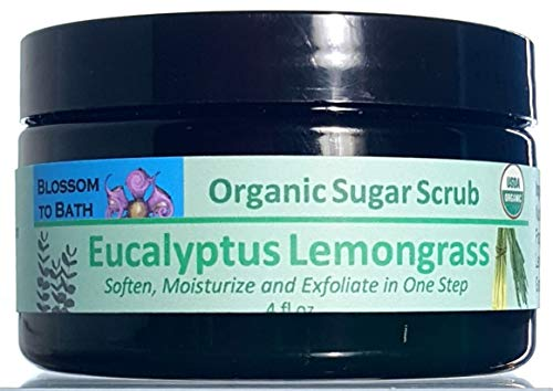 Blossom to Bath Organic Sugar Scrub, Eucalyptus Lemongrass (4 ounce)