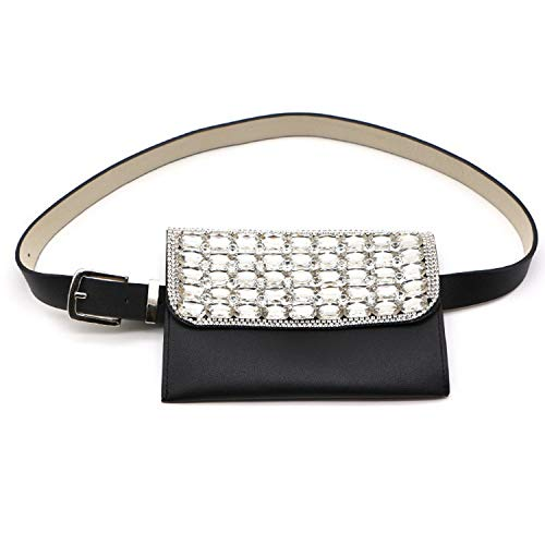 Diamonds Belt Waist Bag Women PU Leather Fanny Pack Bag Fashion Travel Money Belt Bags,Black