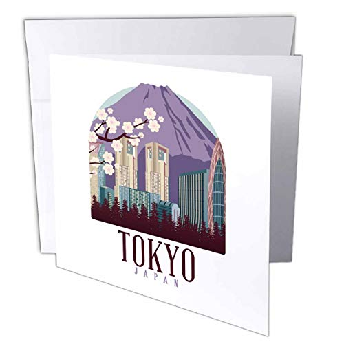 3dRose Sven Herkenrath City - Tokyo Japan with Cherry Blossom Japanese City - 12 Greeting Cards with envelopes (gc_310991_2)